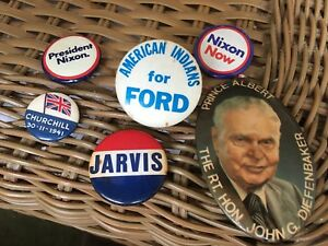 6 Old Political Celluloid Pinbacks