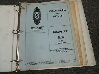 Sweepster Sp96 Broom Parts Catalog Owner Operator Shop Service Repair Manual