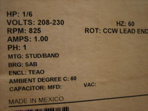 NIDEC #1873 Condenser Motor, 220 volt, 825 RPM, 1/6Hp.