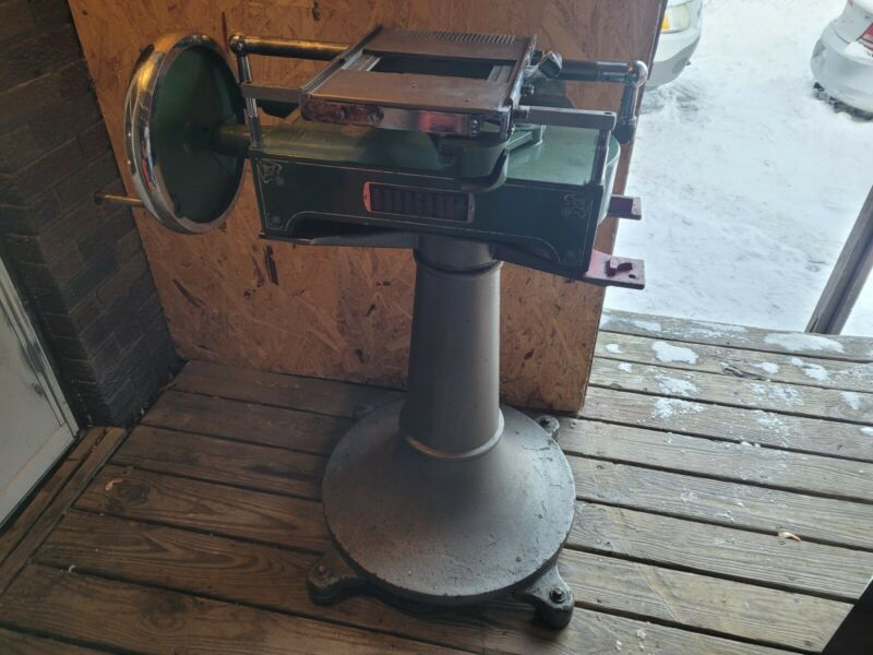 Antique Cast Iron Van Berkel Meat Slicer US Slicing Machine Pedestal Base Stand