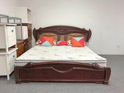 TODAY DELIVERY King bed & mattress LUXURY CLASSICAL WOODEN bed