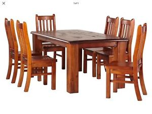 Normandy Rustic Dining Table Set 6 Person - URGENT SALE LIKE NEW Calista Kwinana Area Preview
