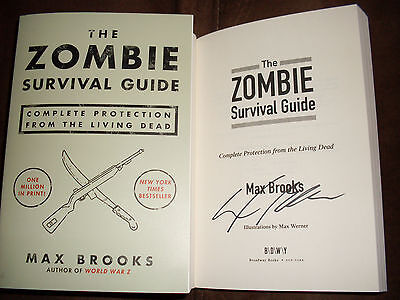 Max Brooks signed The Zombie Survival Guide 57th printing softcover boook