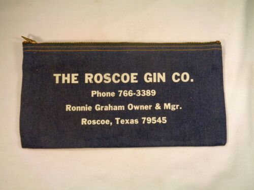 Roscoe Gin Bank Real Denim Vintage Money Deposit Bags Texas Cotton Ginning Co