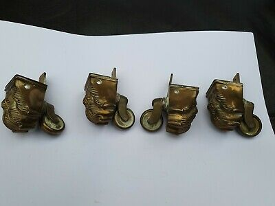 Set of 4 Reproduction Brass Lions Paw Castors