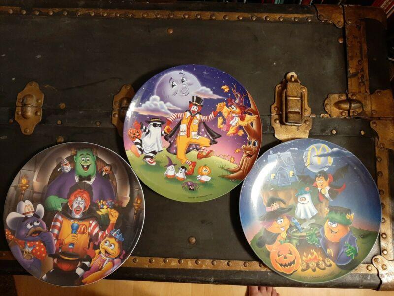 3 Vintage McDonalds Halloween Plates McNugget Buddies New 1995