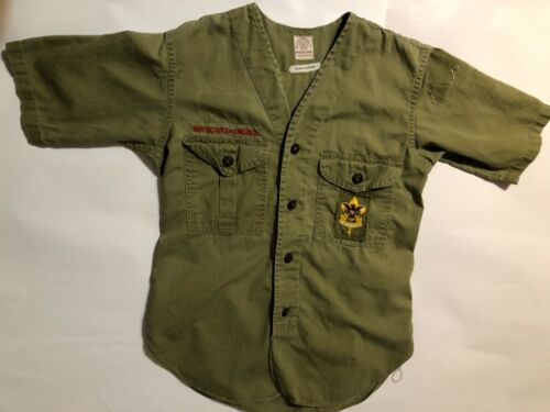 Vintage Official BSA Boy Scout uniform youth med short sleeve First Class badge