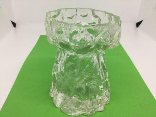 Vintage Ingridglas Glass Textured Bark Range Clear Hyacinth Vase