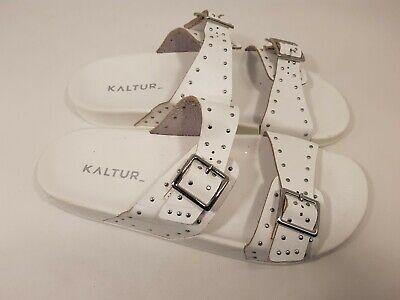 Kaltur size 7 (40) white faux leather studded buckle strap slides mules sandals