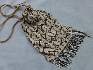 Antique Victorian micro bead work beaded evening bag purse reticule
