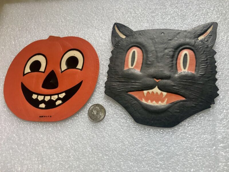 Antique Halloween Black Cat & Jackolatern Made In USA