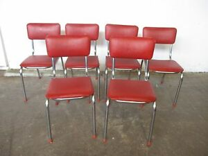 C31058 Set 6 Funky RETRO Chrome Red Vinyl Kitchen Dining Chairs Unley Unley Area Preview