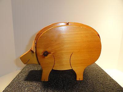 Vintage Wooden Pig Piggy Coin Bank