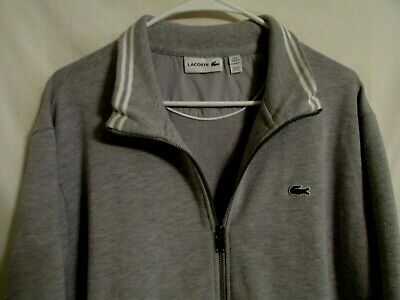 Lacoste Sweat Jacket 3XL Gray w/ White  Trim Full Zipper Cotton Polyester