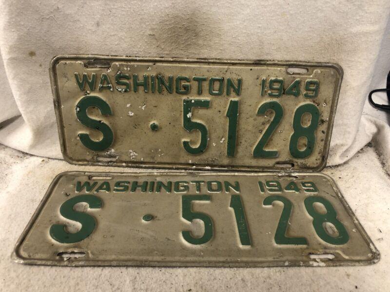 Vintage 1949 Washington License Plate Pair