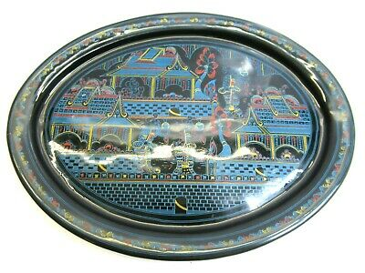 Vintage Asian Paper Mache Black Lacquered Tray oval 12