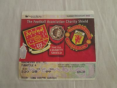 1998 CHARITY SHEILD FINAL ASENAL v MANCHESTER UNITED TICET STUB