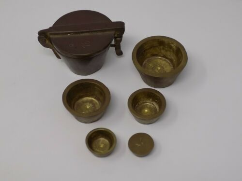Brass Apothocary Scale Graduated Nesting Cup Weights ~ Chemist Pharmacy 16 oz.