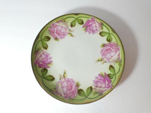 "VINTAGE CARLSBAD AUSTRIA PLATE 7 3/4"" FLORAL ROSES & GOLD TRIM"