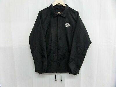 Vans Black Coach Style Button Up Jacket Mens Size Large Used Condition Small Rip