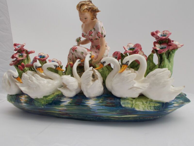 Mollica Bros Maiden with Swans and blossoms made in Italy