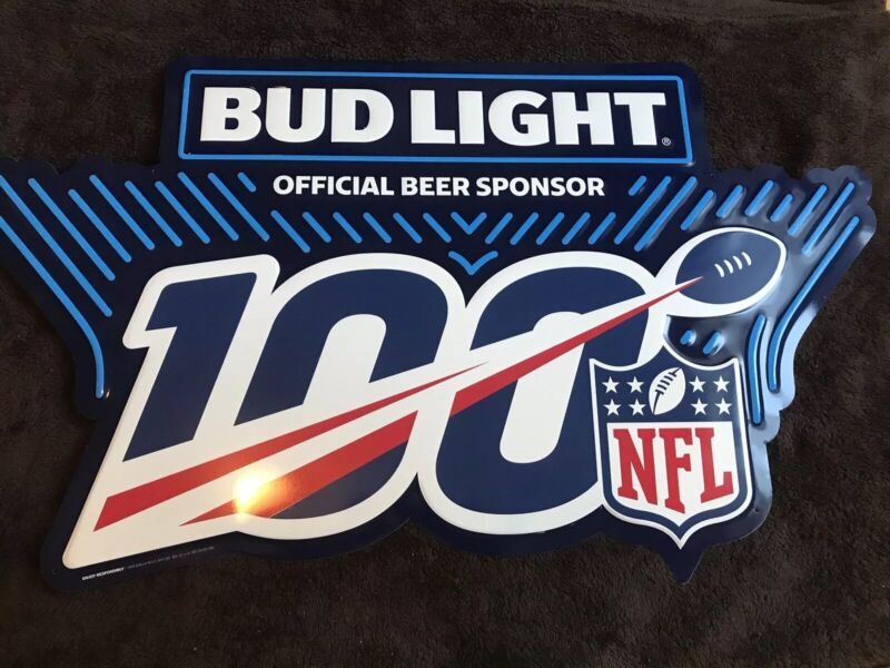 NEW BUD LIGHT NFL Official Beer Sponsor-Embossed-Metal-Tin Tacker Sign Man Cave