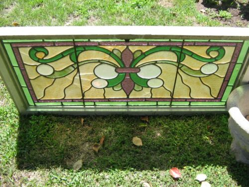 "VTG HANDSOME LARGE COMPLETE ARCHITECTURAL STAINED GLASS PANEL 43 1/2"" WIDE"
