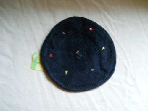 Gymboree Apple For the Teacher Corduroy Hat Navy Blue Size 6-18M New