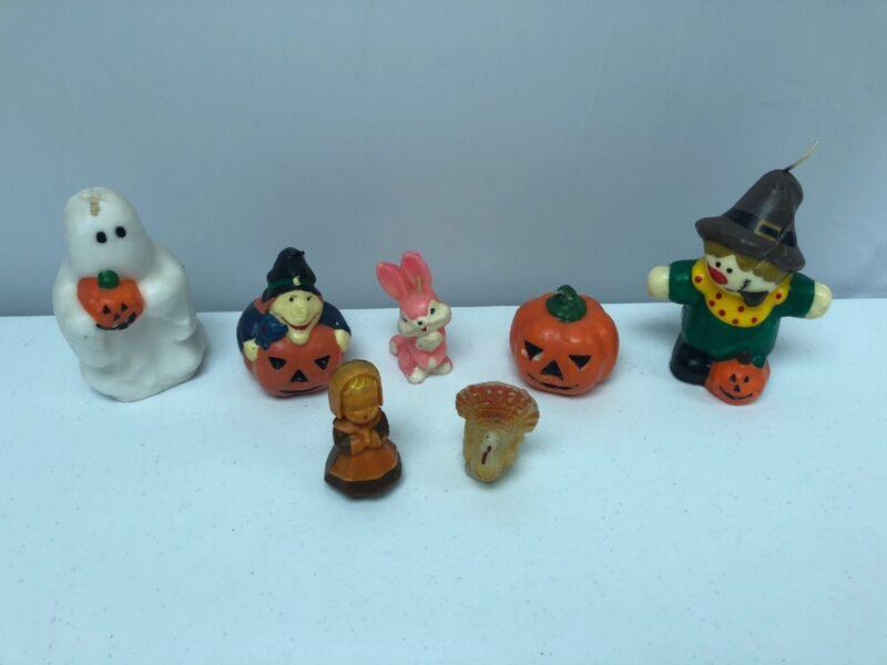 Lot of 7 Vintage Gurley? Halloween Pumpkins Unused Seasonal Holiday Candles