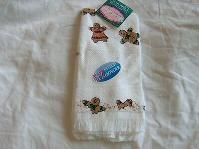 COUNTED CROSS STITCH GINGERBREAD MEN WOMEN TOWEL CHARLES CRAFT 14 COUNT BORDER  - Gingerbread Craft