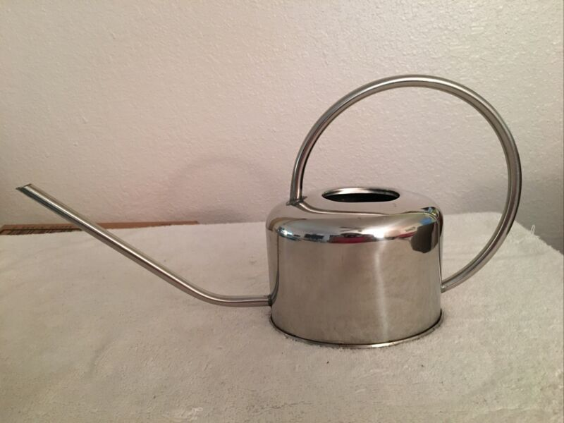 Watering Can * Polished Metal * Long Pouring Spout