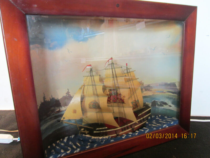 SHIP MODEL, LIGHTED, SOUND & MOTION SHADOWBOX
