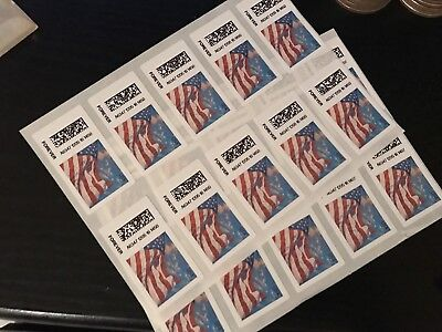 10 USPS Forever Stamps US Star Spangled Banner Flag Heart Postage Coil Sheet USA