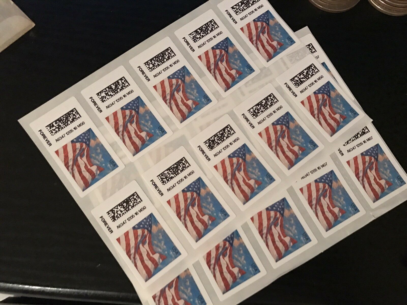 Купить 10 USPS Forever Stamps US Star Spangled Banner Flag Heart Postage Coil Sheet USA