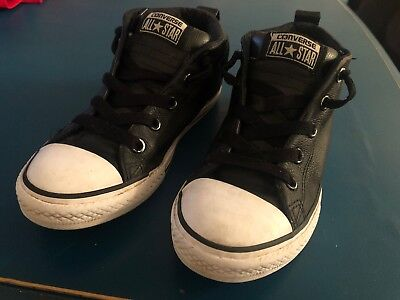 CONVERSE AllStar Chuck Taylor Black Leather Padded High Tops Boy Girl Size 3 EUC