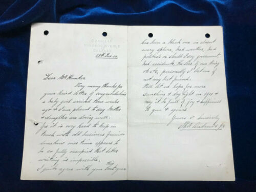 RMS Titanic Thomas Andrews handwritten SIGNED letter on his personal stationery