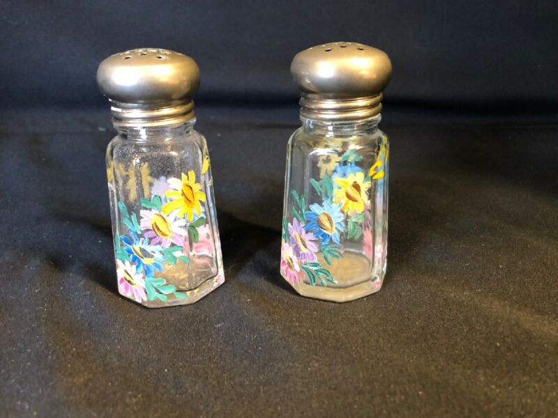 Vintage Glass Salt & Pepper Shakers with Hand Painted Flowers - Beautiful
