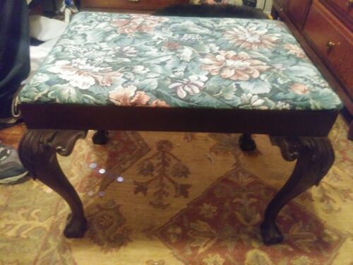 Chippendale Style Antique Mahogany Ball & Claw Needlepoint Stool