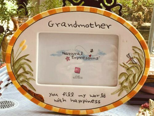 """RUSS BERRIE NATURAL EXPRESSIONS PICTURE FRAME - HOLDS 4"""" X 6"""" PHOTO -GRANDMOTHER"""