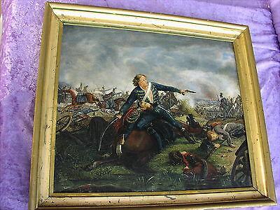 Rares altes Schlachtengemälde von 1850 Biedermeier