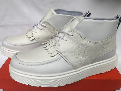 Dr. Martens Jemima Kiltie Chukka Mid White Leather Moc Toe Boots Shoes Women's 8 Dr Martens Moc Toe