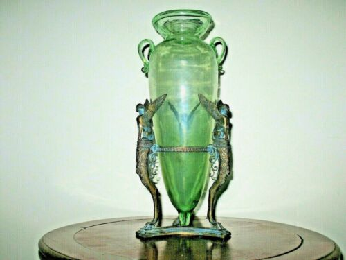 Antique G. Sommer Foundry Italy Aqua Amphora Glass Cast Bronze Winged Sphinx