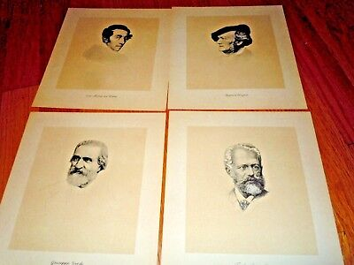 1936 20 DUOTONE ETCHINGS - PORTRAITS OF GREAT COMPOSERS-Hall & McCreary