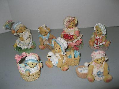 CHERISHED TEDDIES FIGURINES ~ LOT OF 7 BEARS ~ 1991-1999 kite baskets apples
