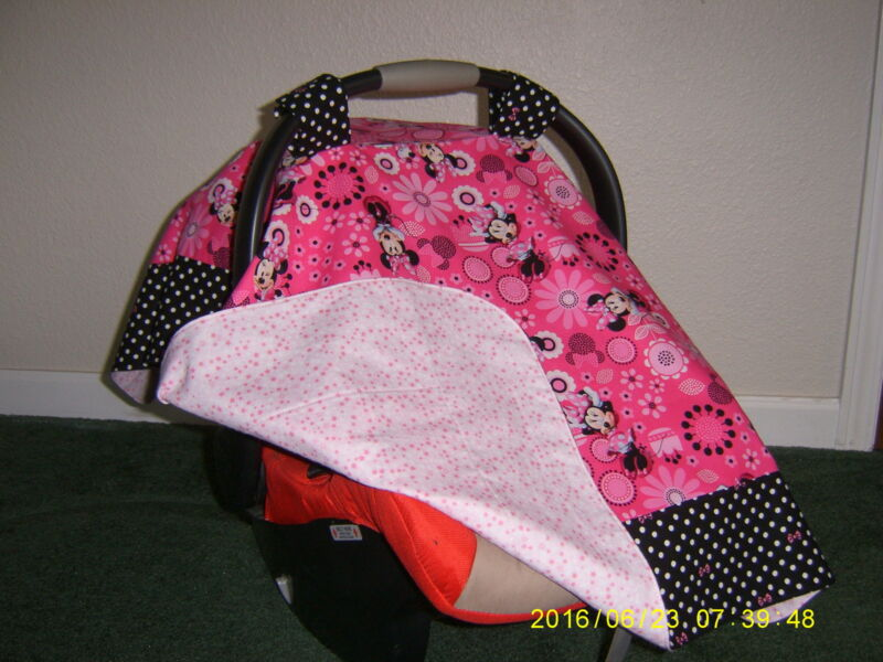 **MINNIE MOUSE** w/polka dots & bows Handmade Baby Car Seat Canopy-Cover