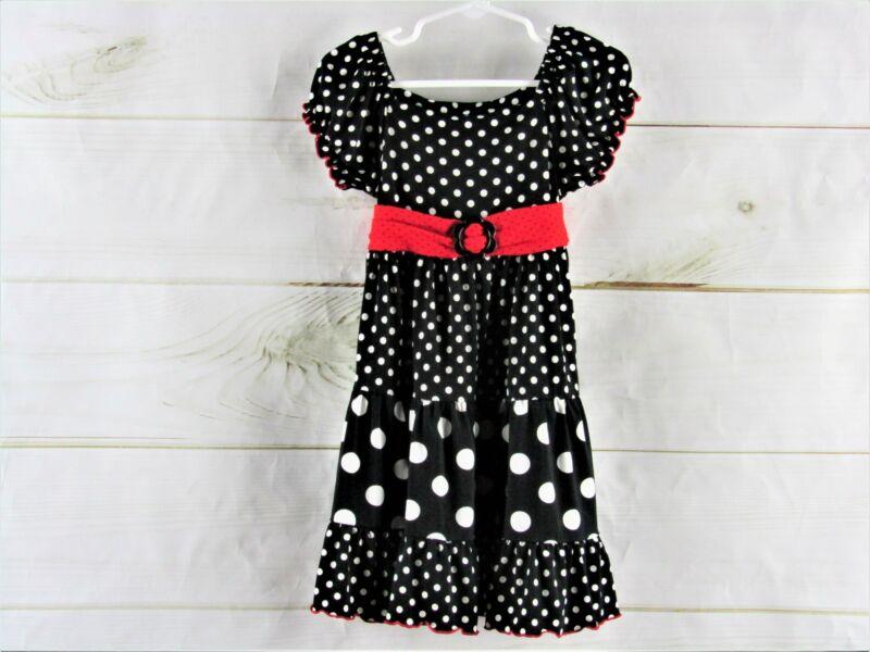 Bonnie Jean Black And White Polka Dot Dress Size 5