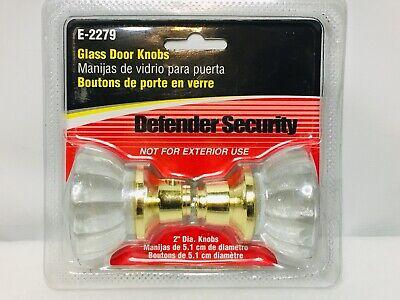 """Glass Door Knob Set  2/""""  Defender  #E2328  NEW"""
