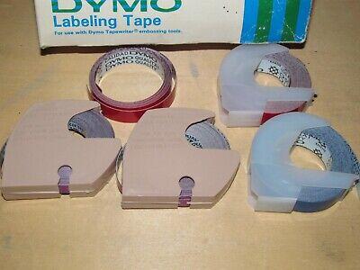 5PK For DYMO 3D Embossing Label Tape Caption Maker 520106 White on Blue 9mm