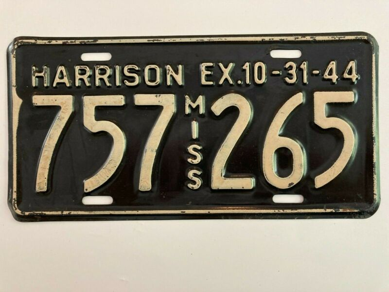 1944 Mississippi License Plate Harrison County ALL ORIGINAL WWII