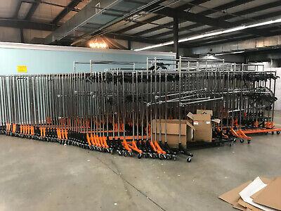 Commercial Grade Rolling Clothing Garmet Z-rack Wnesting Black Or Orange Base